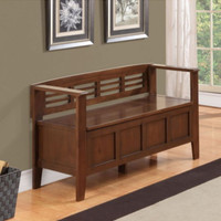 Rustic Storage Bench Two-Seater Sturdy Entryway Furniture Brown Stain Finish New