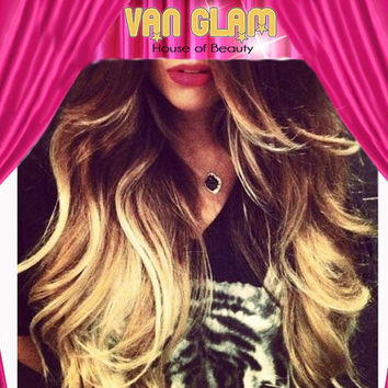 "24"" Custom Ombre Clip In Hair Extensions"
