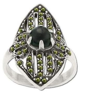 Sterling Silver Genuine 21 Marcasite Stone and Onyx Band Ring with