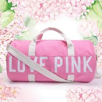 Love Pink Victoria's Secret Print Sport Gym Satchel Travel Luggage Bag