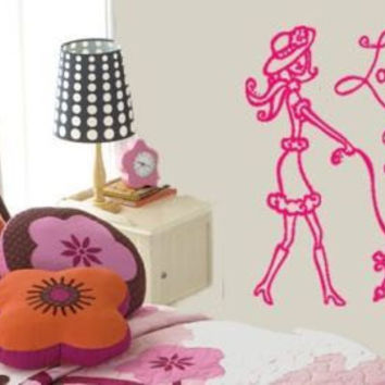 Whimsical Chic PARIS Lady & Poodle Vinyl Wall Art Decal Nursery Girls Room