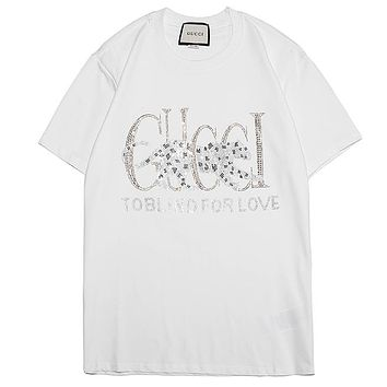GUCCI 2019 new hot drilling tiger men and women casual round neck half sleeve T-shirt white