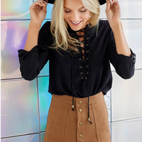 Faux Suede Buttoned Front Skirt [7571643142]