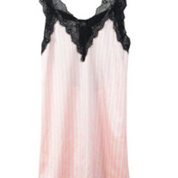 DKF4S 2015 New Pink Striped Suspender Skirt Sleepwear Charming Women's Robes Sexy Black Lace Lingerie Night Gown One Size