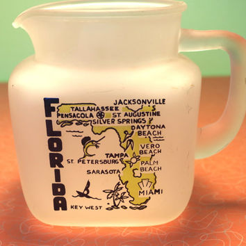 Vintage 1950s Florida Souvenir Glass Pitcher