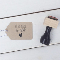 Handmade With Love Rubber Stamp - heart stamp for homemade gifts and treats