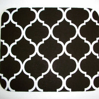 Mouse Pad mousepad / Mat - Rectangle or round - Trellis in black white