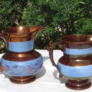 Two Antique Staffordshire Copper Luster Blue Band Pitchers circa 1800's