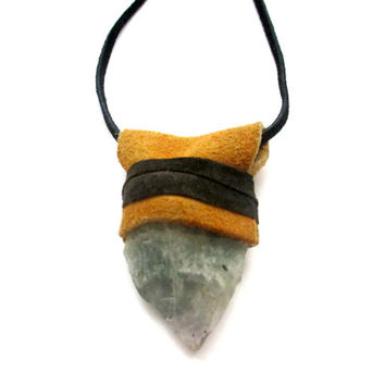 Raw Crystal & Leather Talisman Necklace. Rainbow Fluorite. With Recycled Suede