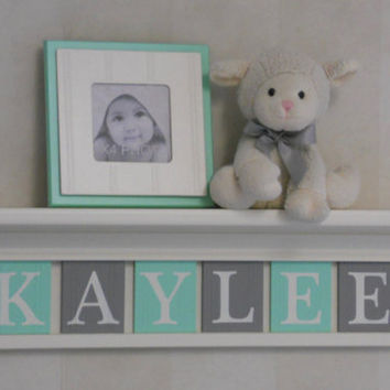"Personalized Baby Nursery Decor 24"" Linen (Off White) Shelf with 6 Letter Wooden Tiles Painted Mint and Gray - KAYLEE"