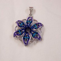 Celtic Star chainmaille pendant anodized aluminum rings and bail | SilverGriffonDesigns - Jewelry on ArtFire