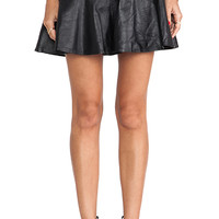 Karina Grimaldi Paloma Leather Skirt in Black