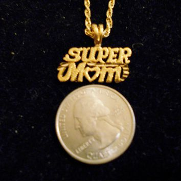 bling 14kt yellow gold plated super mom word saying pendant charm 24 inch rope chain hip hop trendy fashion necklace jewelry special
