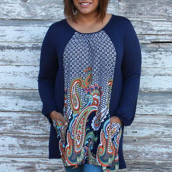 My Lucky Day Paisley Print Tunic With Pockets ~ Navy ~ Sizes 12-16