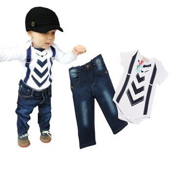 Baby Clothes Suit born Infant Rompers Kids Bodysuit Boys Summer Clothing Set Tollder Tracksuit Child Romper+Jeans VJ0171 smileseller