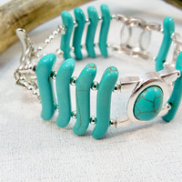 Turquoise and Silver Bracelet  Double Strand Turquoise Bracelet Cuff Hummingbird Charm