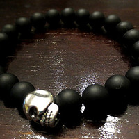 Men's Matte Black Onyx Bracelet with Silver Base Metal Skull
