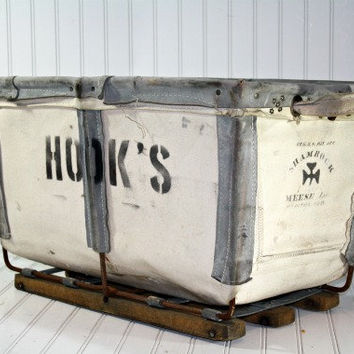Vintage Industrial Canvas Laundry Bin by HuntandFound on Etsy