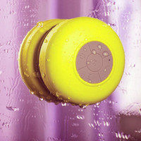 Yellow Wireless Portable Waterproof Suction Shower Mini  Bluetooth Mic Speaker
