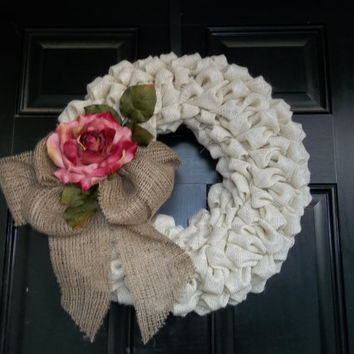 "16""  Off White Color Burlap Wreath/ Pink Rose Wall Decor, Door Wreath , Wedding Decor, cottage wreath, Mothers Day"