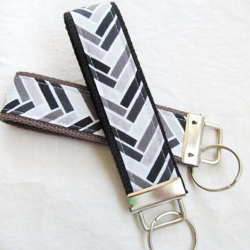 Wristlet Key Fob Key Chain - Interwoven in Black, Gray and White - Chevron Zig Zag Stripe - Fabric Keychain