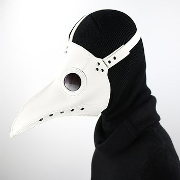White PU Leather Steampunk Steam Punk Gothic Bird Beak Mask Plague Doctor Cosplay Hood Hallowee Role Play Costume