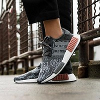 Best Online Sale Adidas NMD R1 Grey / Grey / Raw Pink BY9647 Boost Sport Running Shoe