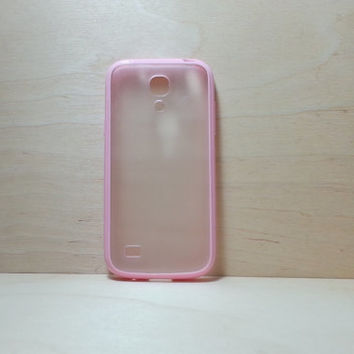Samsung Galaxy S4 (Mini) Case Silicone Bumper and Translucent Frosted Hard Plastic Back - Pink