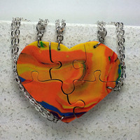 Puzzle Necklaces Set of 5 Heart Shaped  by GirlwithaFrogTattoo