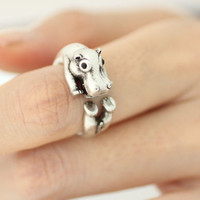 Adjustable Hippo Animal Rings/ Hippo Ring Women's Teen's Retro Burnished Bunny Jewelry Black Crystal Wrap Ring