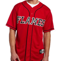 NHL Men's Calgary Flames Short Sleeve Button Front Replica Jersey (Pro Scarlet/Pro Black, Medium)