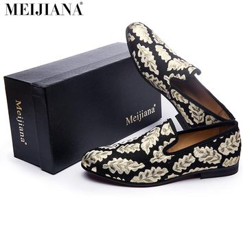 2017 fashion  gold Leaves Loafers  luxury brand men shoes leather shoes men shoes men's flats shoes Handmade Loafers