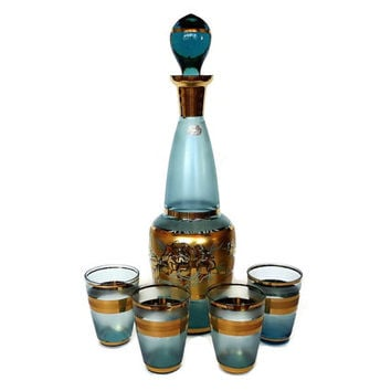 Bohemian Glass Decanter Set, Mid Century Blue, Gold, Double Shot, Whiskey, 1960s