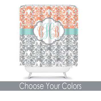 Damask SHOWER CURTAIN Aqua Gray Peach Custom MONOGRAM Personalized Bathroom Decor Damask Bathroom Beach Towel Plush Bath Mat Made in Usa