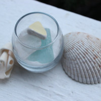 Beach Cottage Glass Container With Seaglass , Sea Pottery and sand , Sea glass Decoration , coastal decor