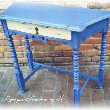 Vintage shabby chic entry table, distressed blue entry table, french country accent table, country cottage table, distressed accent table