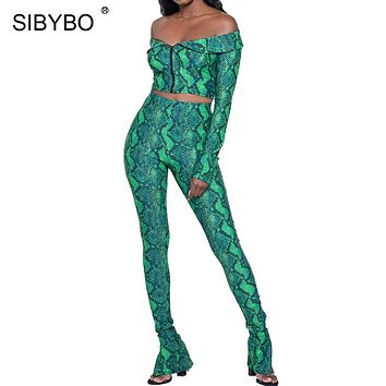 Sibybo Snake Skin Print Strapless Two Piece Jumpsuit Women Long Sleeve Off Shoulder Skinny Women Rompers Plus Size Sexy Bodysuit