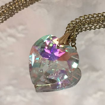 Vintage Aurora Borealis Sweet Heart Necklace on Gold Tone Chain