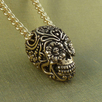 "Mexican Skull - Day of the Dead Necklace Bronze Sugar Skull Pendant on 24"" Gold Plated Chain"