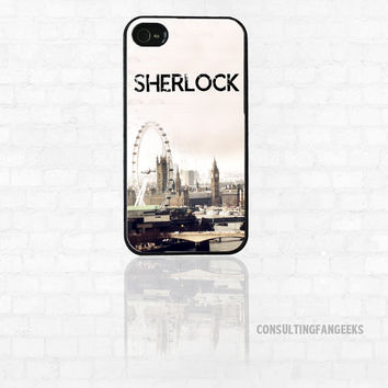 "Sherlock BBC ""Opening Theme London"" Fan Art iPhone 4 Case"