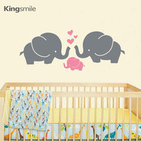 Removable Nursery Wall Decals Cute Elephant Hearts 2colors Family Baby Nursery Decor Kids Room Wall Sticker Hipster Modern Decor