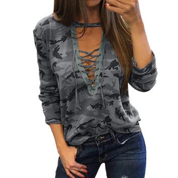 Summer Shirt Women Camouflage TShirt V Neck Lace Up Top Shirt Ladies Loose Bandege Camo Fitness Tee Tracksuit Female tshirts