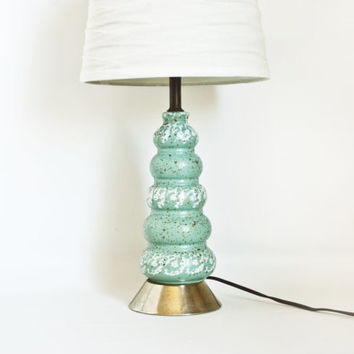 Mid Century Turquoise Gold Speckle Lamp, Living Room Light, Space Age Atomic Ceramic Light, (No shade)