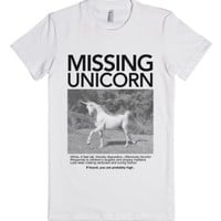 Missing Unicorn (Junior)-Female White T-Shirt