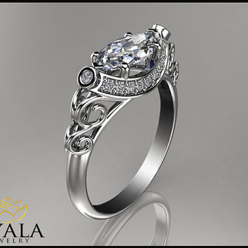 14K White Gold Marquise Diamond RingUnique Engagement RingHalo RingPromise Rings