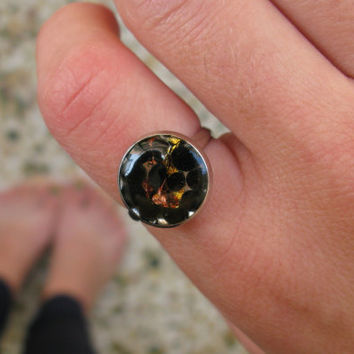 Black Ring with Gold Flakes - Resin Ring - Set of Two Rings - Adjustable Ring - Teens Ring - Coctail Ring - Polka Dot Ring