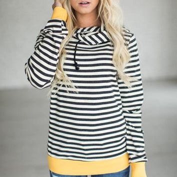 Autumn T-shirt Plus Size Womens Long Sleeve Hoodie Sweatshirt Striped Hooded Pullover Tops Tee Shirt Femme Camisetas Mujer