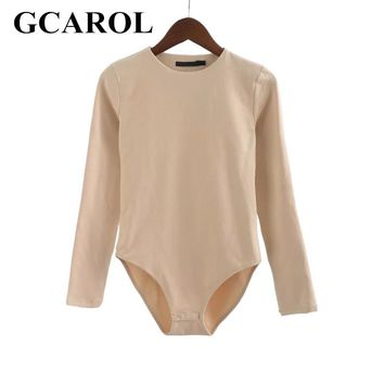 GCAROL 2017 Women Bodysuits Bikini Bottom With Snap Closures Stretch Slim Euro Style Full Sleeve O-Neck Basic Bodysuits