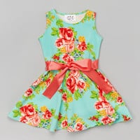 Mint Floral Skater Dress - Infant, Toddler & Girls | zulily