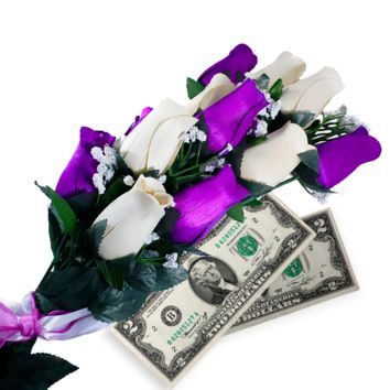 Purple & Cream Bouquet | Cash Roses®